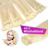 Clip In Extensions Echthaar 40 cm #613 Mittelhellblond 13 Tressen 145g + 4 Clips