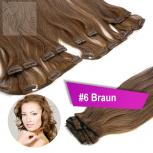 Clip In Extensions Echthaar 60 cm #6 Braun 13 Tressen 145g + 4 Clips
