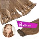 Clip In Extensions Echthaar 45 cm #8 Mittelbraun 13 Tressen 145g + 4 Clips