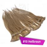 Clip In Extensions Echthaar 45 cm #10 Hellbraun 8 Tressen 100g + 4 Clips