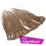 Clip In Extensions Echthaar 60 cm #12 Hellgoldbraun 8 Tressen 100g + 4 Clips