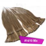 Clip In Extensions Echthaar 45 cm #14/10 Mix 8 Tressen 100g + 4 Clips