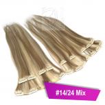 Clip In Extensions Echthaar 60 cm #14/24 Mix 8 Tressen 100g + 4 Clips