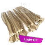 Clip In Extensions Echthaar 45 cm #14/60 Mix 8 Tressen 100g + 4 Clips