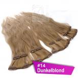 Clip In Extensions Echthaar 45 cm #14 Dunkelblond 8 Tressen 100g + 4 Clips