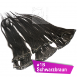 Clip In Extensions Echthaar 40 cm #1B Schwarzbraun 8 Tressen 100g + 4 Clips