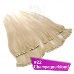 Clip In Extensions Echthaar 40 cm #22 Champagnerblond 8 Tressen 100g + 4 Clips