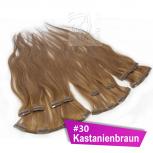 Clip In Extensions Echthaar 45 cm #30 Kastanienbraun 8 Tressen 100g + 4 Clips