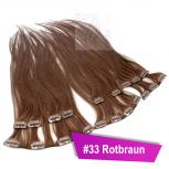 Clip In Extensions Echthaar 60 cm #33 Rotbraun 8 Tressen 100g + 4 Clips