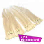 Clip In Extensions Echthaar 40 cm #613 Mittelhellblond 8 Tressen 100g + 4 Clips
