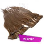 Clip In Extensions Echthaar 60 cm #6 Braun 8 Tressen 100g + 4 Clips