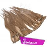 Clip In Extensions Echthaar 45 cm #8 Mittelbraun 8 Tressen 100g + 4 Clips
