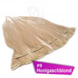 Clip In Extensions Echthaar 45 cm #9 Honigaschblond 8 Tressen 100g + 4 Clips