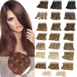 Clip In Set 7 Teile 16 Clips 80g Echthaar Extensions 55 cm