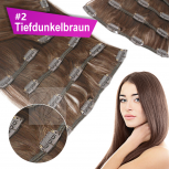 Clip In Set Echthaar Extensions 7 Teile 70g 60 cm #2 Tiefdunkelbraun
