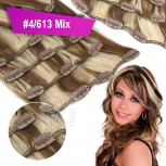 Clip In Set Echthaar Extensions 7 Teile 70g 35 cm #4/613 Mix Gesträhnt
