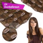 Clip In Set Echthaar Extensions 7 Teile 70g 60 cm #4 Dunkelbraun