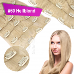 Clip In Set Echthaar Extensions 7 Teile 70g 35 cm #60 Hellblond
