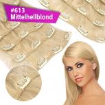 Clip In Set Echthaar Extensions 7 Teile 70g 35 cm #613 Mittelhellblond