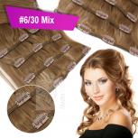 Clip In Set Echthaar Extensions 7 Teile 70g 60 cm #6/30 Mix Kastanienbraun