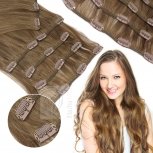 Clip In Set Echthaar Extensions 7 Teile 70g 35 cm #6/4 Mix Braun