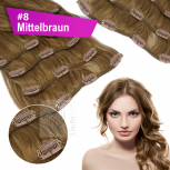 Clip In Set Echthaar Extensions 7 Teile 70g 35 cm #8 Mittelbraun