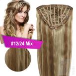 7 Clip In Extensions 70g Haarteil 25 cm #12/24 Mix Gesträhnt + 10 Clips