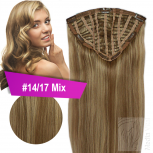 7 Clip Extensions 70g Haarteil 25 cm #14/17 Mix Dunkelaschblond + 10 Clips