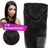 7 Clip In Extensions 70g Haarteil 25 cm #1B Schwarzbraun + 10 Clips