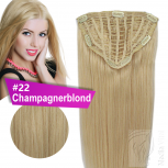 7 Clip Extensions 70g Haarteil 25 cm #22 Champagnerblond + 10 Clips