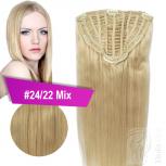 7 Clip Extensions 70g Haarteil Perücke 35 cm #24/22 Mix Blond + 10 Clips