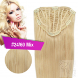 7 Clip Extensions 70g Haarteil 25 cm #24/60 Mix Mittelblond + 10 Clips