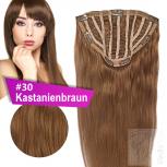 7 Clip In Extensions 100g Haarteil 50 cm #30 Kastanienbraun + 10 Clips