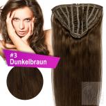 7 Clip In Extensions 70g Haarteil Perücke 25 cm #3 Dunkelbraun + 10 Clips