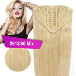 7 Clip In Extensions 70g Haarteil 35 cm #613/60 Mix Hellblond + 10 Clips