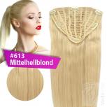 7 Clip Extensions 70g Haarteil 25 cm #613 Mittelhellblond + 10 Clips