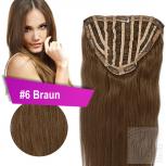 7 Clip In Extensions 100g Haarteil Perücke 50 cm #6 Braun + 10 Clips