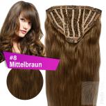 7 Clip In Extensions 100g Haarteil Perücke 50 cm #8 Mittelbraun + 10 Clips