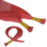 Bunte Echthaar Strähnen 0,5 g 45cm I Tip 10 Strähnen Pink