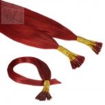 Bunte Echthaar Strähnen 0,5 g 45cm I Tip 10 Strähnen Rot