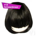 Pony Haarteil Clip In 25-30g Gerade Glatt #1B Schwarzbraun + 2 Tressenclips