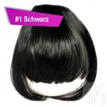 Pony Haarteil Clip In 25-30g Gerade Form Glatt #1 Schwarz + 2 Tressenclips