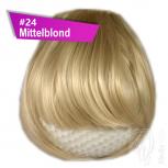 Pony Haarteil Clip In 25-30g Gerade Glatt #24 Mittelblond + 2 Tressenclips