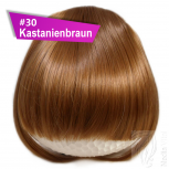 Pony Haarteil Clip In 25-30g Gerade Form Glatt #30 Kastanienbraun + 2 Tressenclips