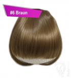 Pony Haarteil Clip In 25-30g Gerade Form Glatt #6 Braun + 2 Tressenclips