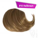 Pony Haarteil Clip In 25-30g Seitliche Form #10 Hellbraun + 2 Tressenclips