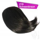 Pony Haarteil Clip In 25-30g Seitliche Form #1B Schwarzbraun + 2 Tressenclips