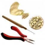 Starter Set Microring Methode Nadel Zange 200 Microringe 1g Silikon Blond