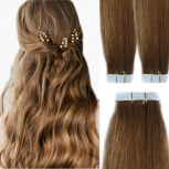 Tape On Extensions Remy Echthaar 45cm Tresse 2g Hellgoldbraun #12