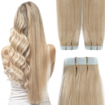 Tape On Extensions Remy Echthaar 45cm Tresse 2g Hellblond #60